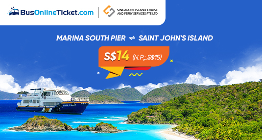 Singapore Island Cruise 2-Way Ticket Promotion for Ferry from Marina South Pier to St. John Island