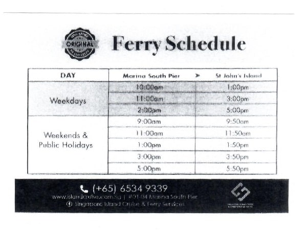 Ferry Schedule from Marina South Pier to St John Island