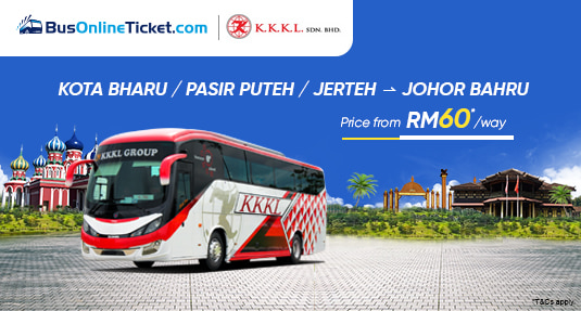 KKKL Express Bus from Pasir Puteh Jerteh Kota Bharu to Johor Bahru