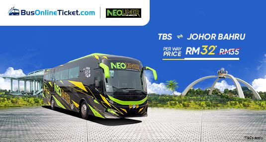 Neoliner Express PROMO RM32 between Kuala Lumpur and Johor Bahru